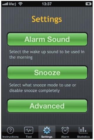 Настройки будильника Sleep Cycle Alarm Clock