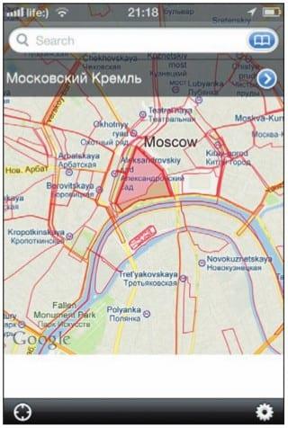 Контуры объектов, описанных в «Викимапии», наложены на карту Google