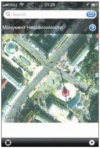 Вид из космоса на площадь Независимости в Киеве