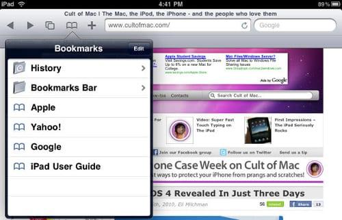 Cписок Bookmarks (Закладки) в Safari на iPad