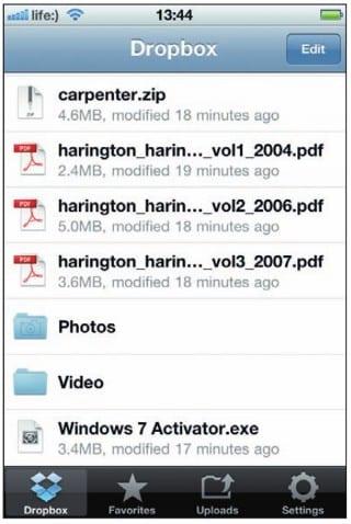 Файлы в Dropbox на экране iPhone