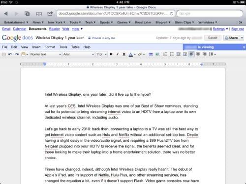 Google Docs на iPad