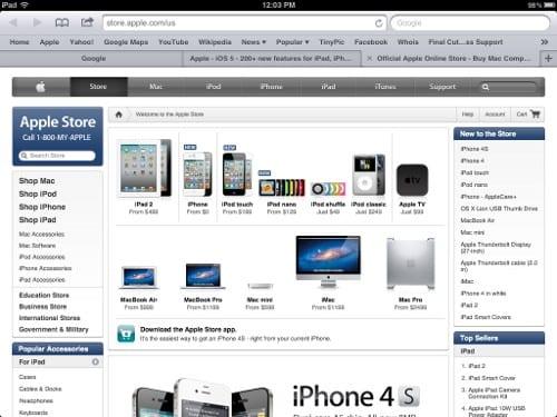 Окно Safari на iPad