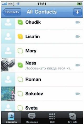 Список контактов в Skype