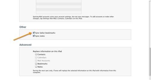 iTunes переносит все закладки с ПК на iPad