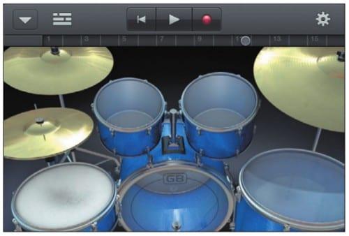 Концертная барабанная установка на экране iPhone
