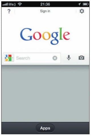«Поиск в Google» на экране iPhone