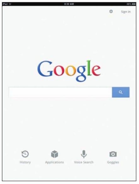 «Поиск в Google» на экране iPad
