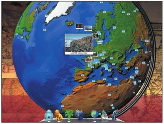 Виртуальный глобус приложения на экране iPad