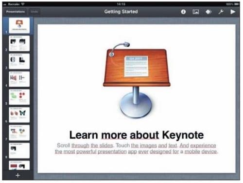 презентация Keynote на экране iPad