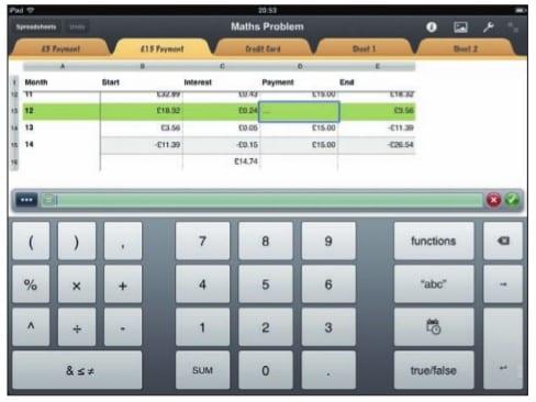 Заполнение ячеек текстовыми и числовыми данными на экране iPad