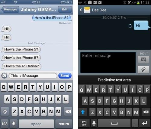 Экран обмена сообщениями iPhone 5 и Galaxy S III