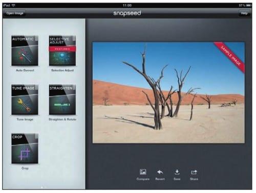 Выбор инструмента редактирования на экране iPad