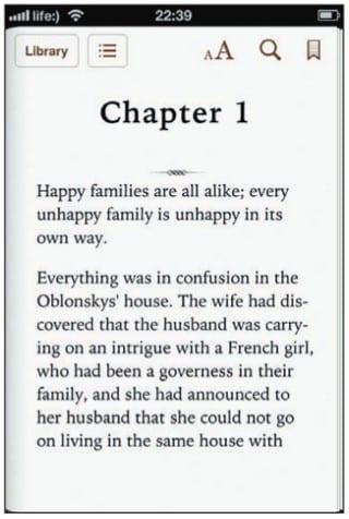 Электронная книга в iBooks на экране iPhone