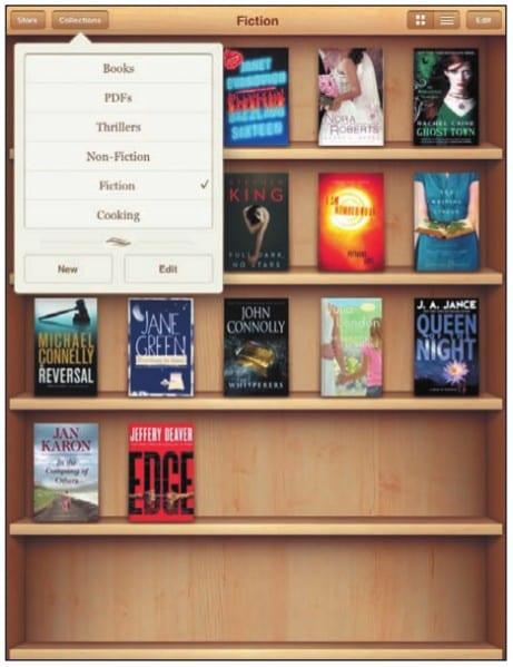 Виртуальный книжный шкаф на экране iPad