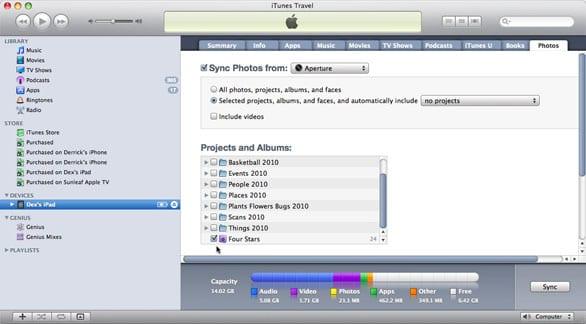 Передача изображений на iPad с помощью iTunes
