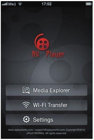 Главное меню видеоплейера AVPlayer