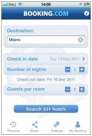 Поисковый запрос отеля в приложении Booking.com