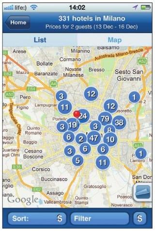 Отели, отмеченные на карте города