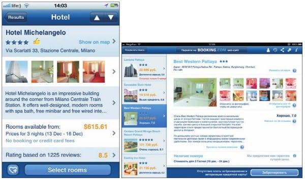 Описание выбранного отеля на iPhone (слева) и iPad (справа)
