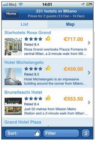 Приложение Booking.com предлагает 331 отель в Милане (скриншот с iPhone)