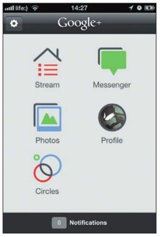 Главное меню приложения Google+