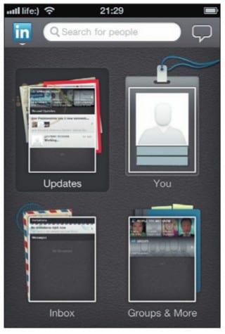 Основные разделы приложения LinkedIn