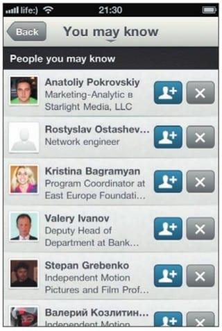 Список возможных контактов LinkedIn