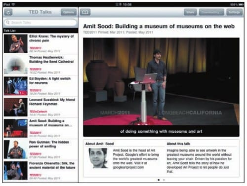 В версии для iPad список видео и описание умещаются на одном экране