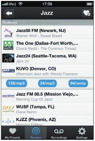 Выбор конкретной радиостанции и качества ее воспроизведения