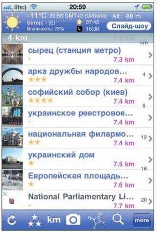 Список достопримечательностей Киева с указанием расстояний до них в World Explorer
