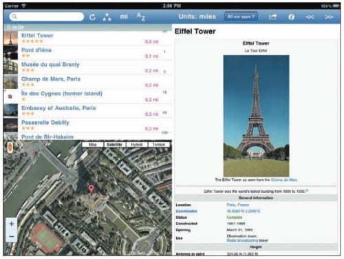 Окрестности Эйфелевой башни на экране iPad