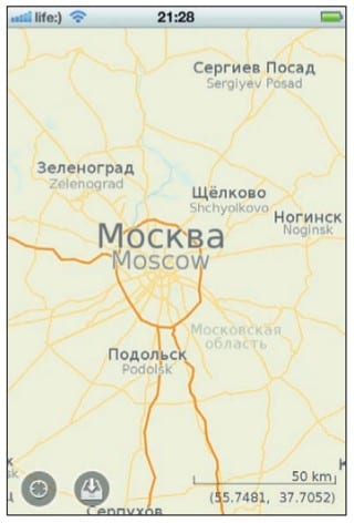 Карта Московской области на экране iPhone
