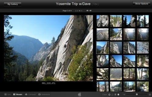 Фотогалерея в MobileMe на iPad