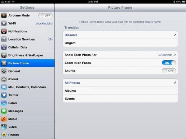 Настройте поведение iPad в роли цифровой рамки