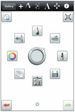 Панели инструментов рисования SketchBook Mobile