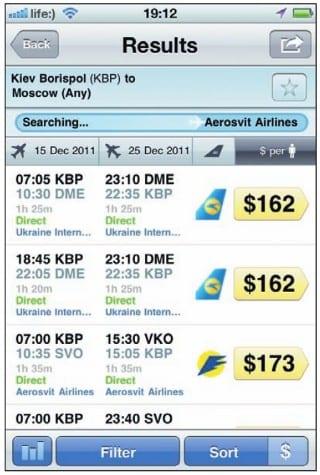 Результаты поиска авиабилетов на iPhone