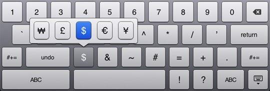 Как набрать доллар на клавиатуре планшета?