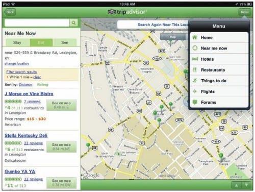 Поиск ближайших точек интереса в приложении TripAdvisor на iPad