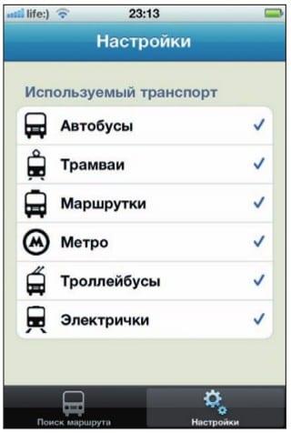 Выбор подходящих видов городского транспорта