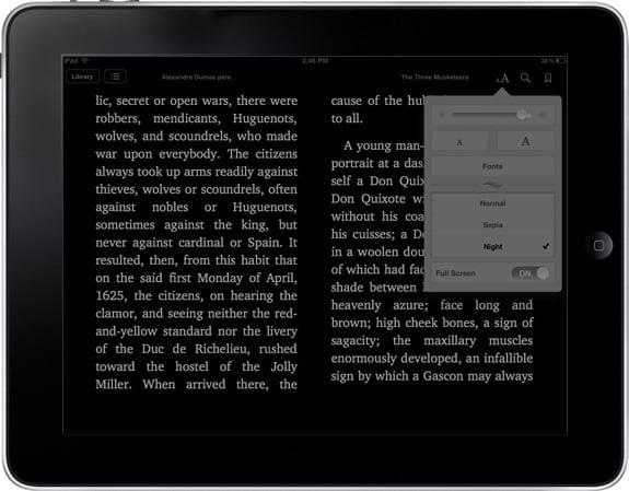 Ночной режим чтения на iPad