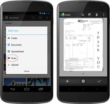 Сканер документов в Google Drive для Android