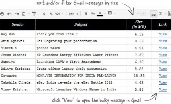 Сортировка Gmail сообщений