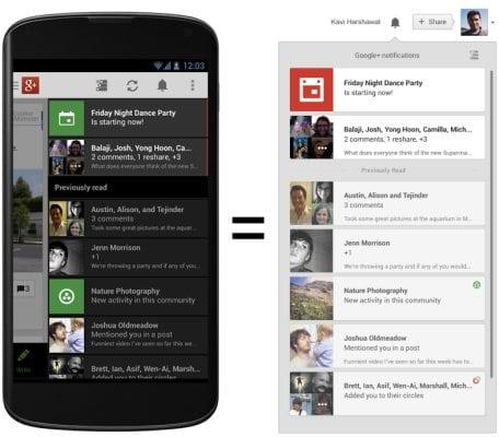 Обновленная версия приложения  Google+