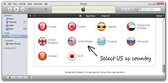 """нажмите кнопку """"Изменить Страну"""" - Выберите флаг Соединенных Штатов."""