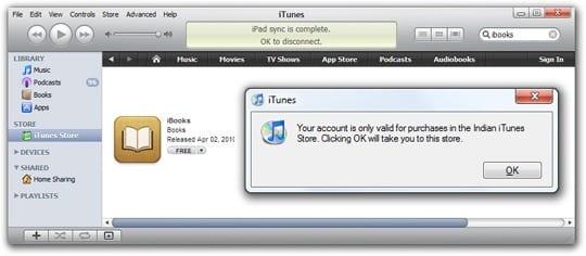"""предупреждающее сообщение """"Ваш аккаунт действителен только для покупок в [название страны] магазине iTunes""""."""