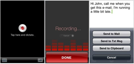 Dragon Dictation -  iPhone приложение распознавания голоса