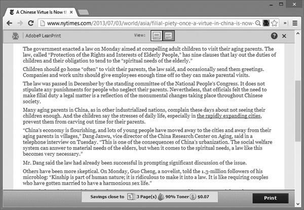Веб-сайт York Times, оптимизированый для печати