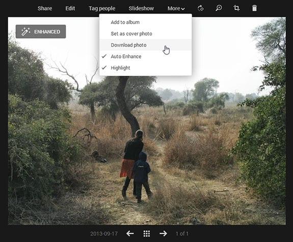 Скачивание фотографии в Google+