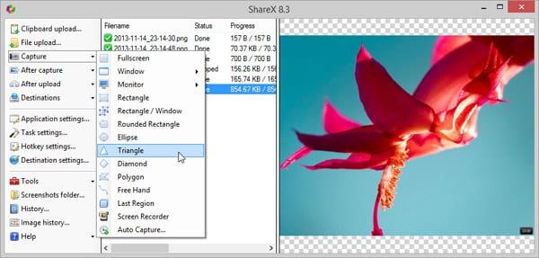 Создание скриншота в ShareX